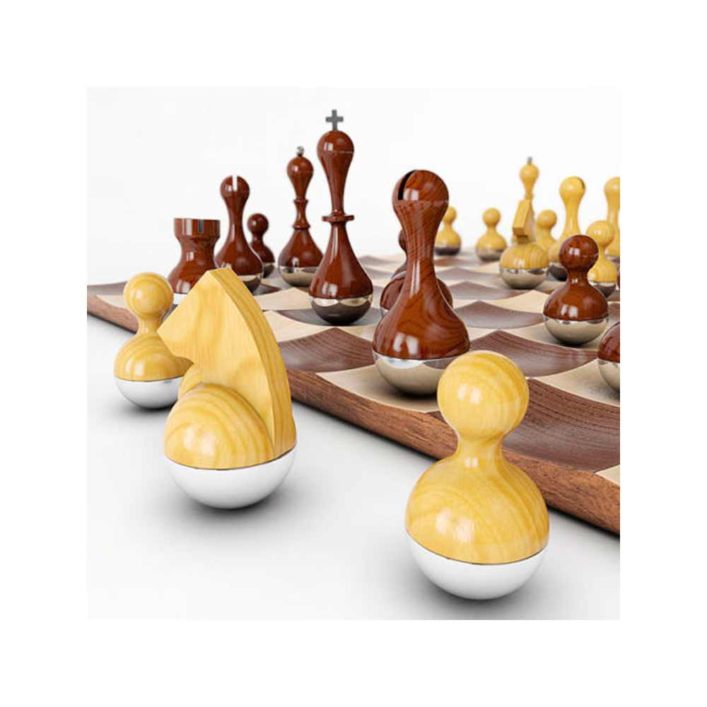 Umbra wobble chess set wooden curvy modern collectors gift wood board home decor ebay - Wobble chess set ...