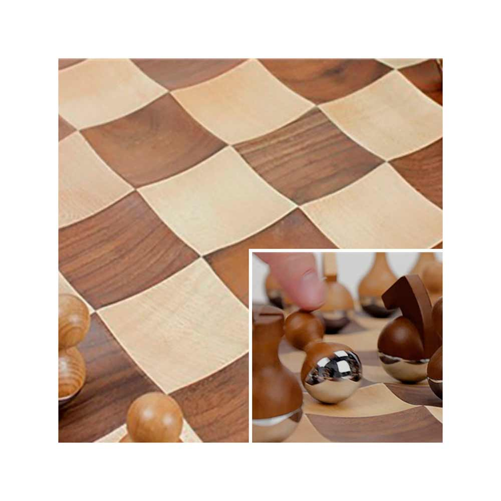 Umbra wobble chess set wooden curvy modern collectors gift for Modern home decor gifts