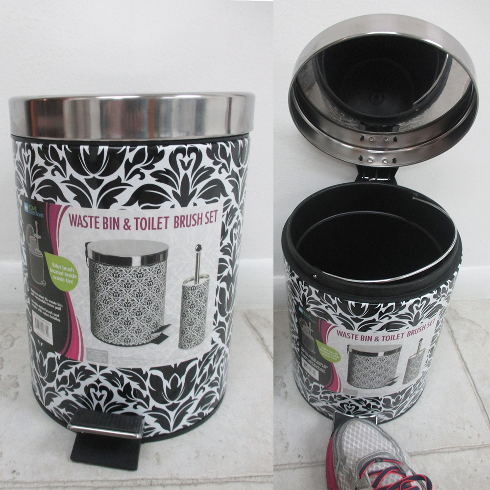 2pc stainless steel waste bin basket toilet brush set for Waste baskets for bathroom