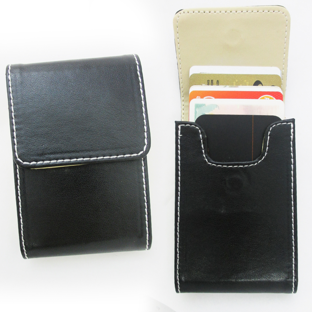New black pocket leather business id credit card holder for Black business card holder