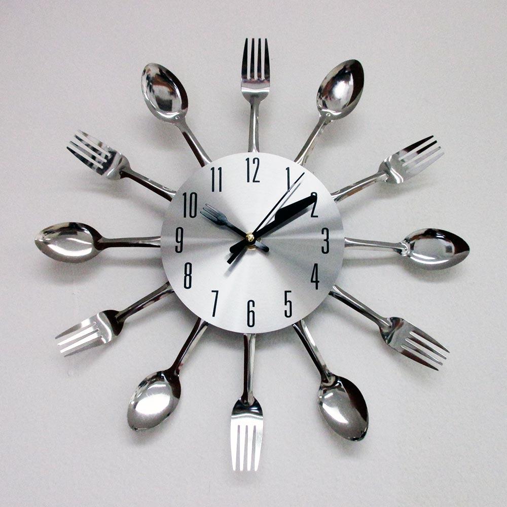Modern Design Silver Cutlery Kitchen Utensil Clock Spoon Fork Knife Bendable New Ebay