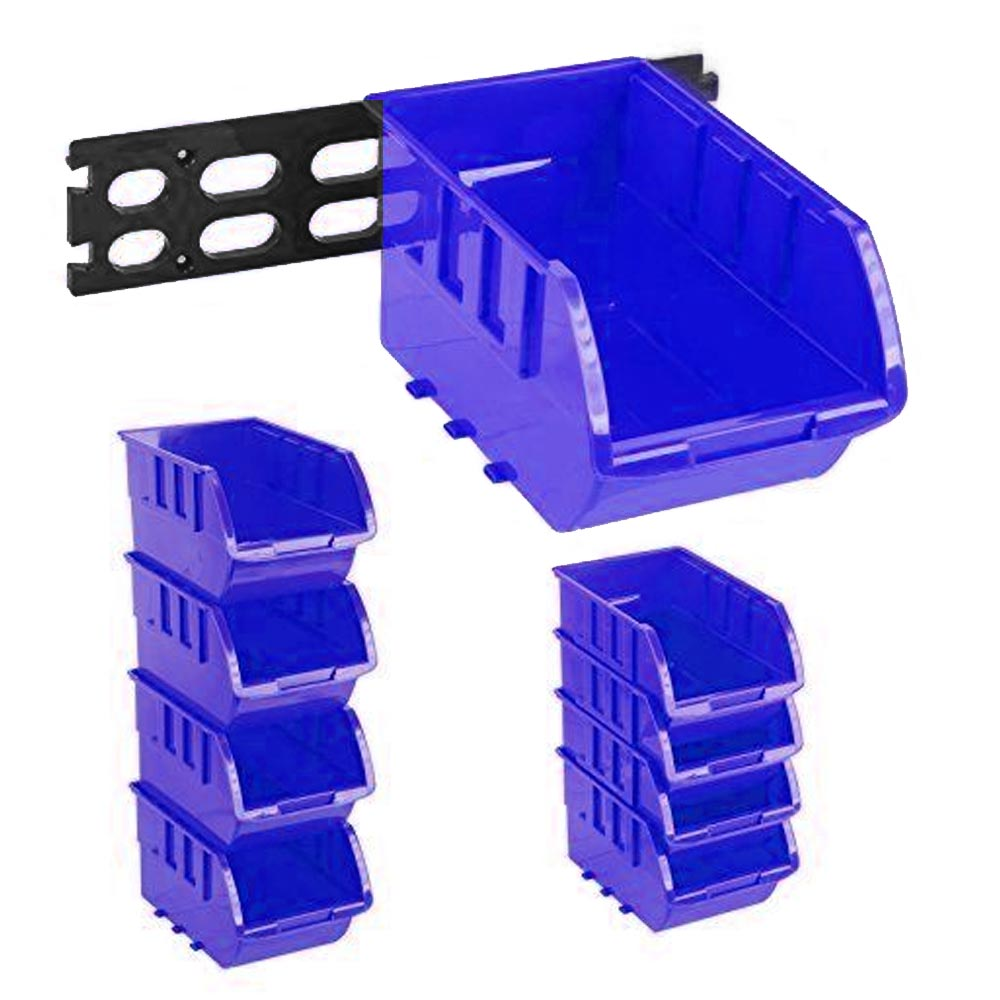 4 large stackable plastic storage bins container organizer p