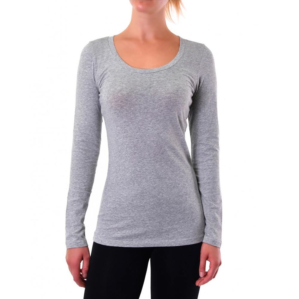 Basic Grey Long Sleeve Top T-Shirt Stretch Tight Fit Crew Neck ...