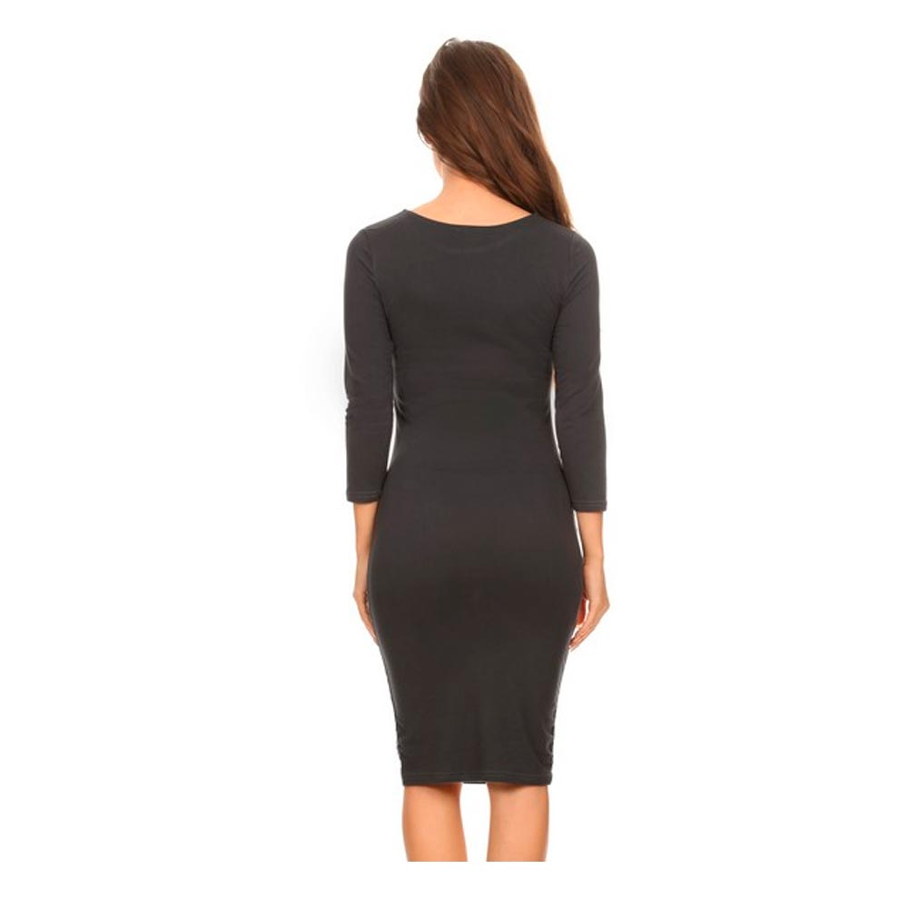 Women Casual Dress Fitted 3/4 Sleeve Bodycon Stretch