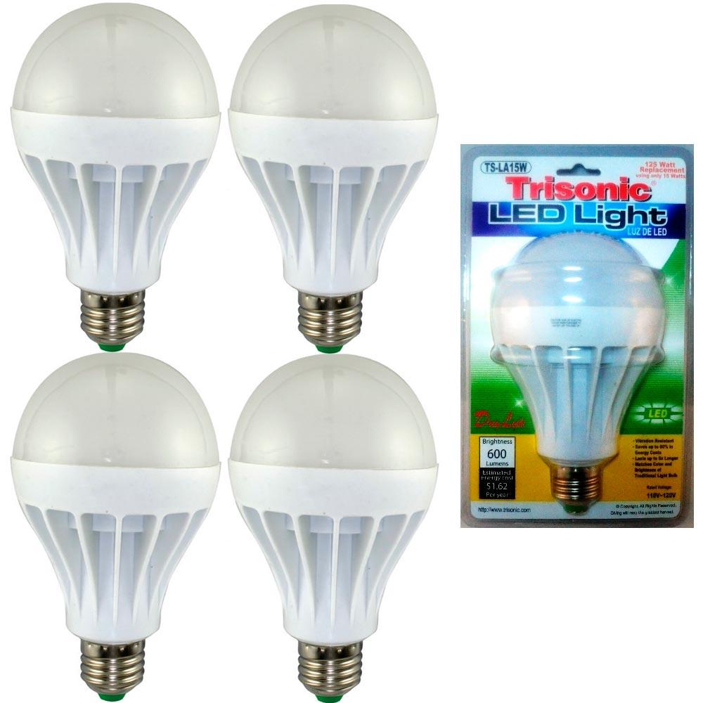 4 Pc Daylight 15 Watt Energy Led Light Bulb 125 W Output Replacement 600 Lumens Ebay