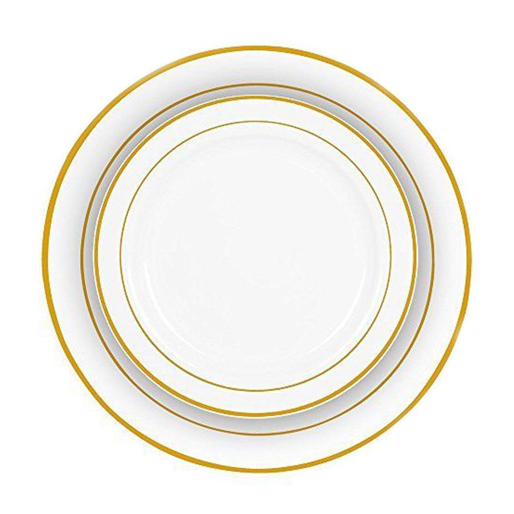 Gold Rim Bulk Dinner Wedding Disposable Plastic Plates