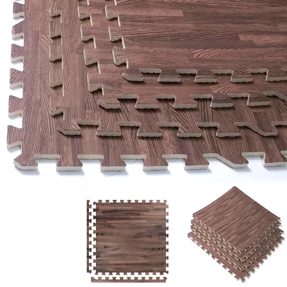 32 Sqft Dark Soft Wood Grain Eva Mats Foam Interlocking