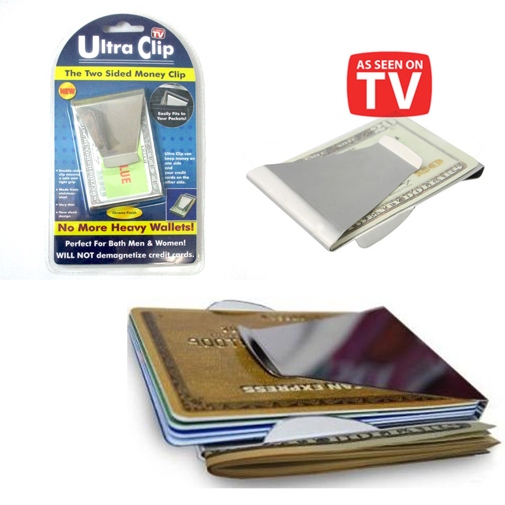 money clip wallet designer bppt  Ultra Slim Double Sided Money Clip Cash Credit Card Holder Wallet As Seen  On Tv