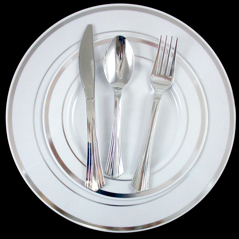 90 People Dinner Wedding Disposable Plastic Plates Silverware Silver Rim Part
