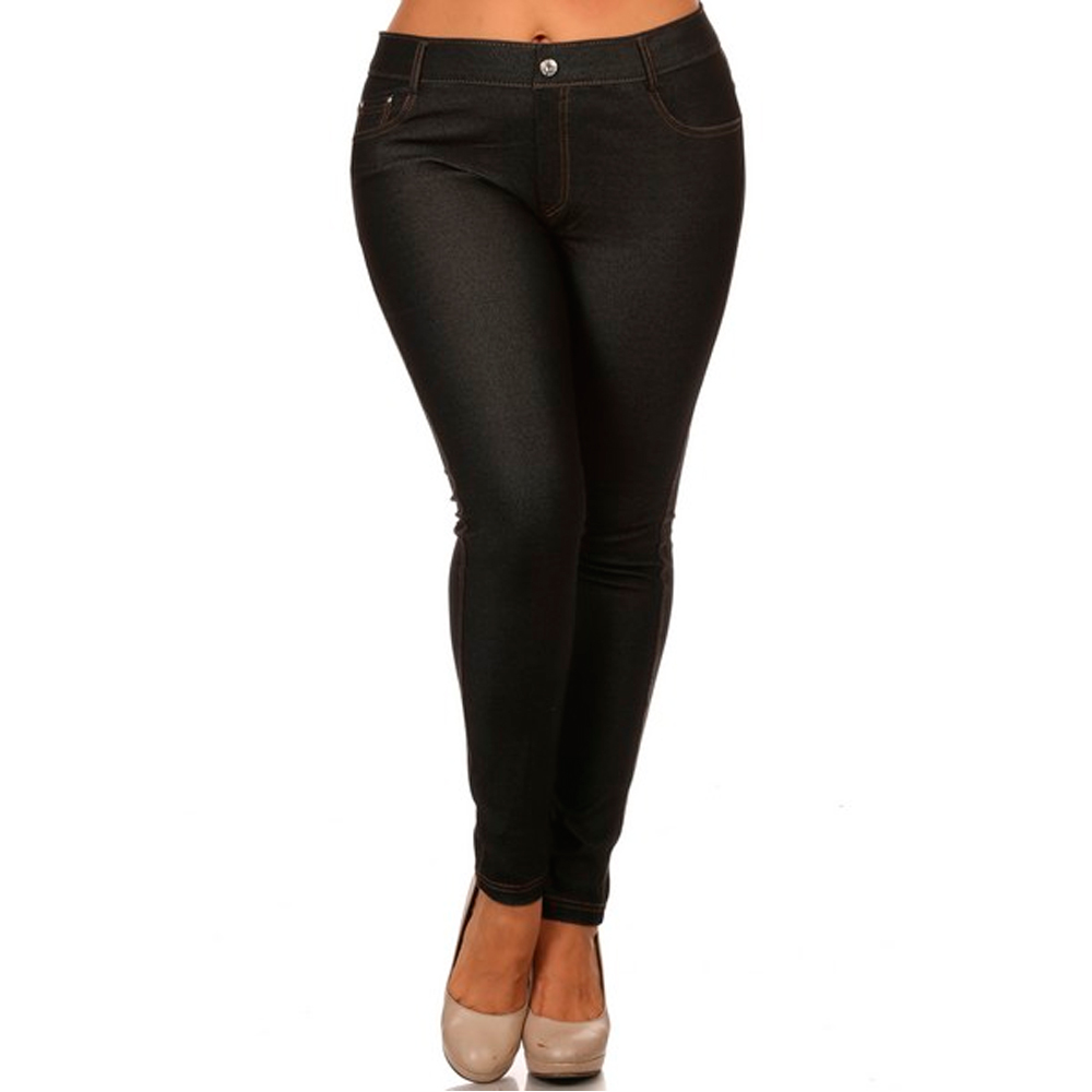 Womens Plus Size Jeans Look Skinny Slim Jeggings Stretch Pants XL ...