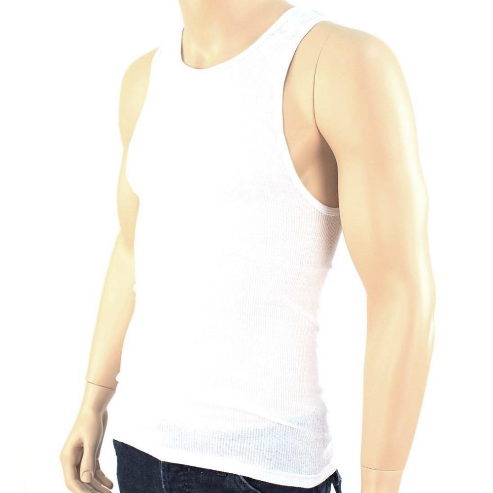 3 Pc 100% Cotton Mens A-Shirt Ribbed Tank Top Undershirt White ...