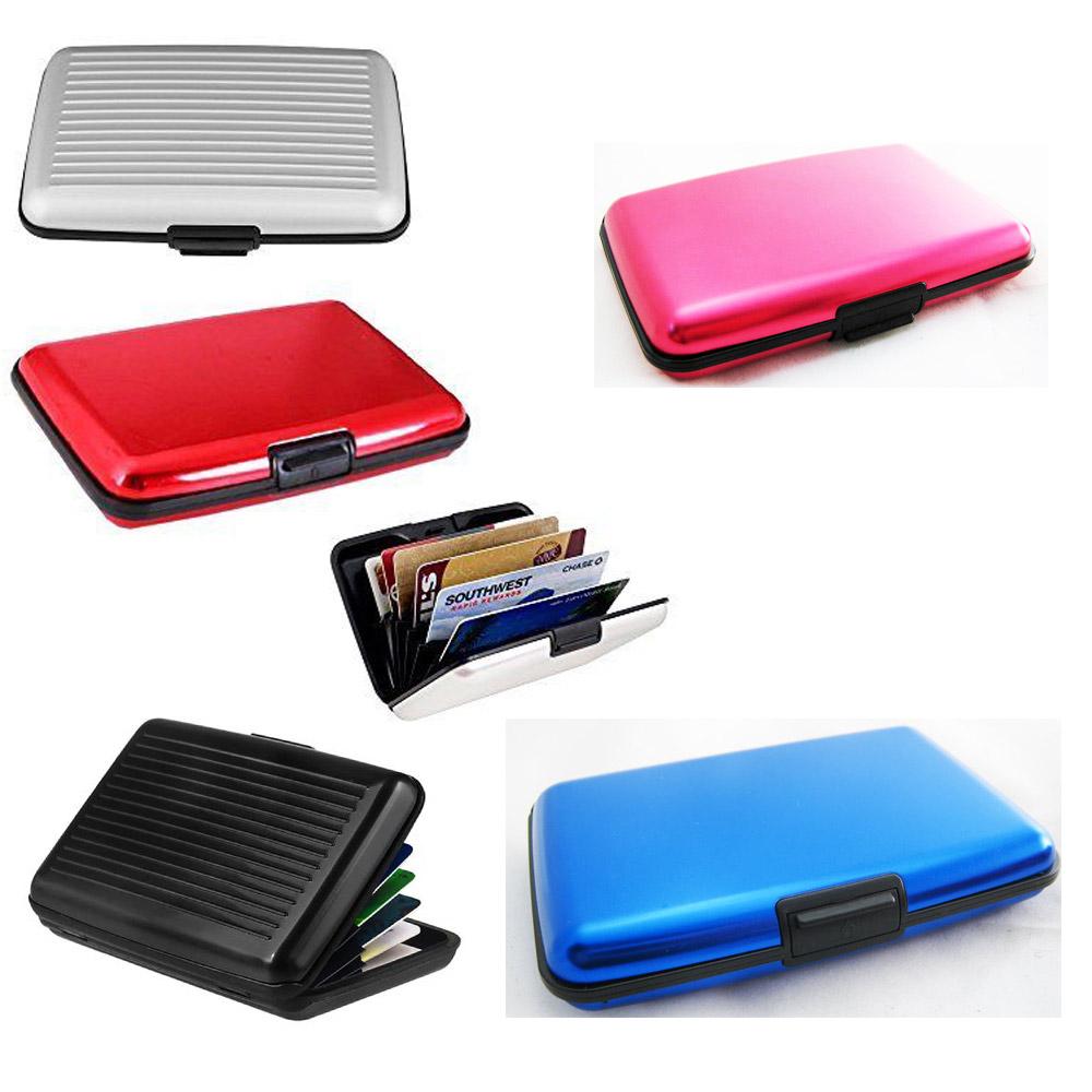 58badcbf923f Details about RFID Blocking Aluminum Credit Card Holder Safe Wallet Hard  Case Anti Scan Theft