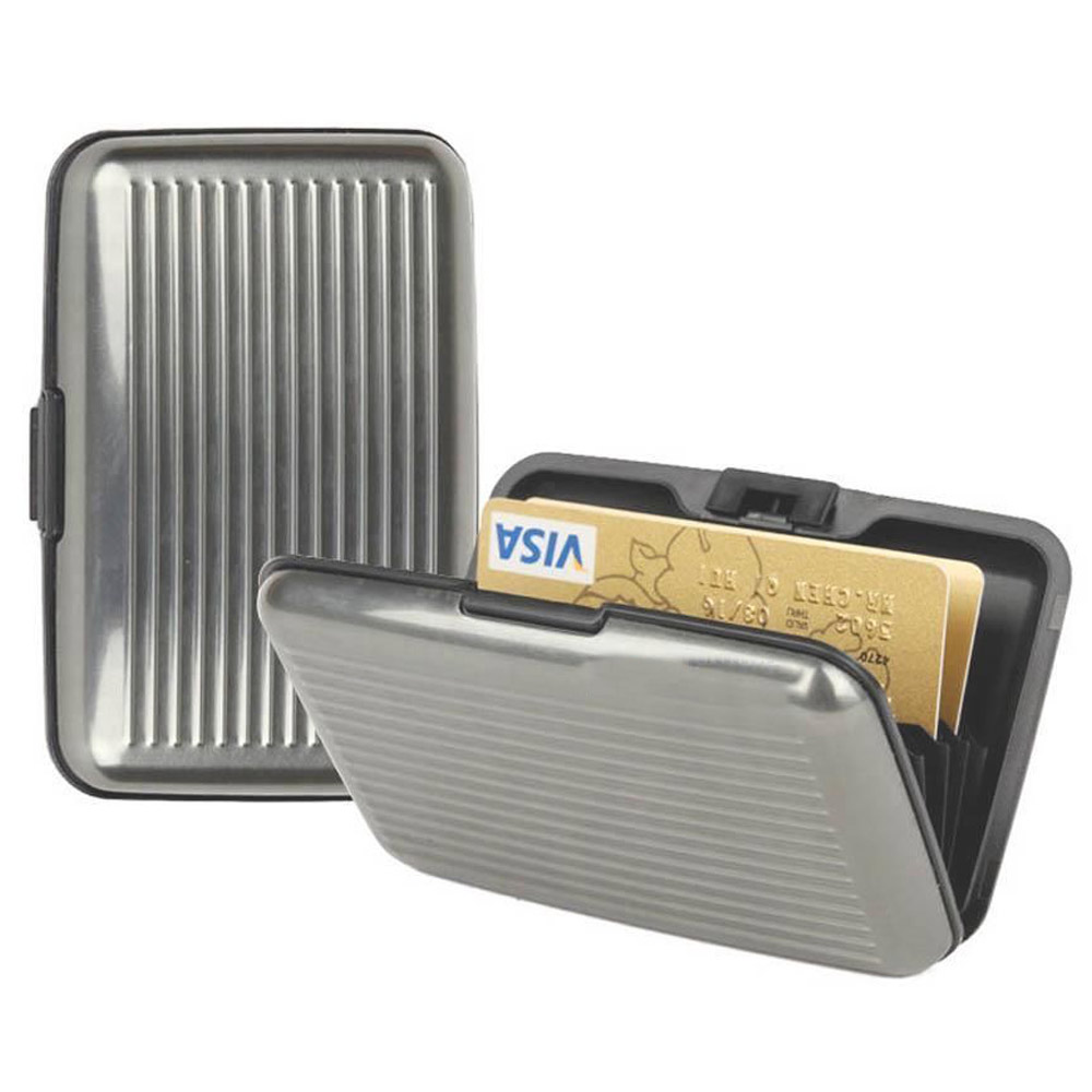 FMH Aluminum Credit Card Wallet perfectly sized hard case w//RFID blocking prevents identity theft from cards with embedded microchip and traditional magnetic strip by Furnish My Homestead