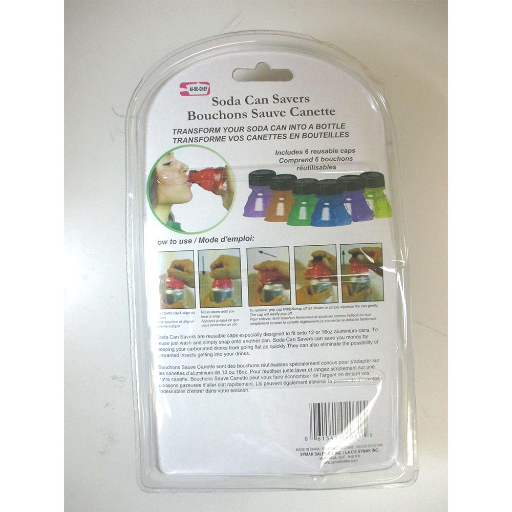 6 Pack Soda Can Savers Reusable Pop Drink Covers Lid