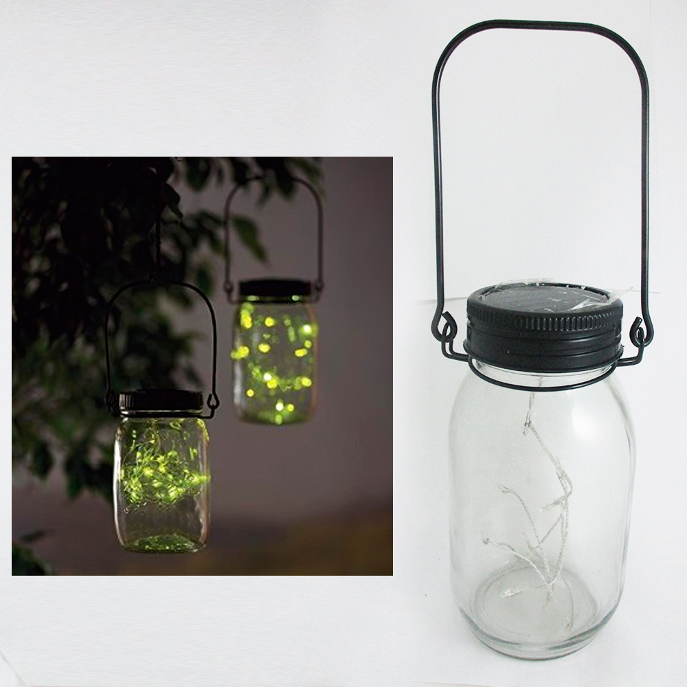 Mason Jar Solar Lid Light Up String Hanging Lantern 9 Led