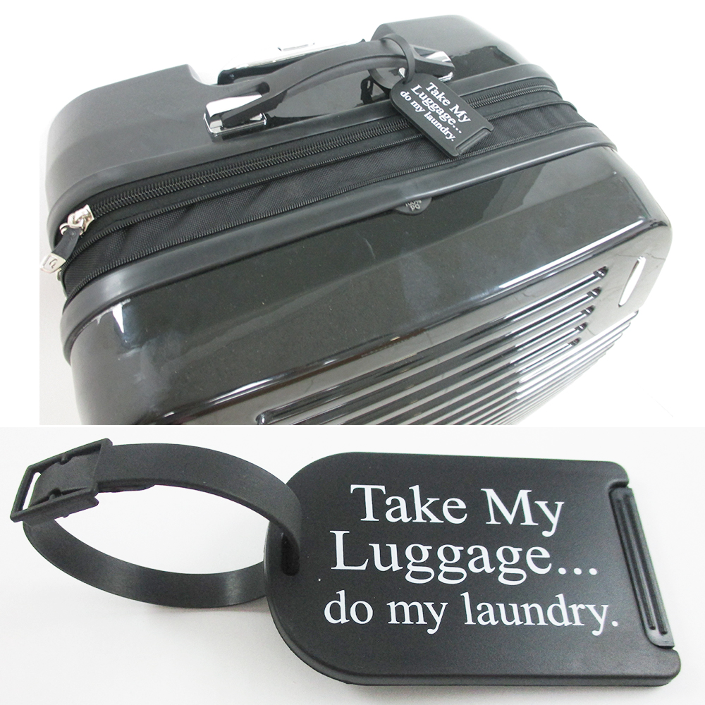 2 Funny Luggage Tags Id Name Labels Strap Suitcase Black