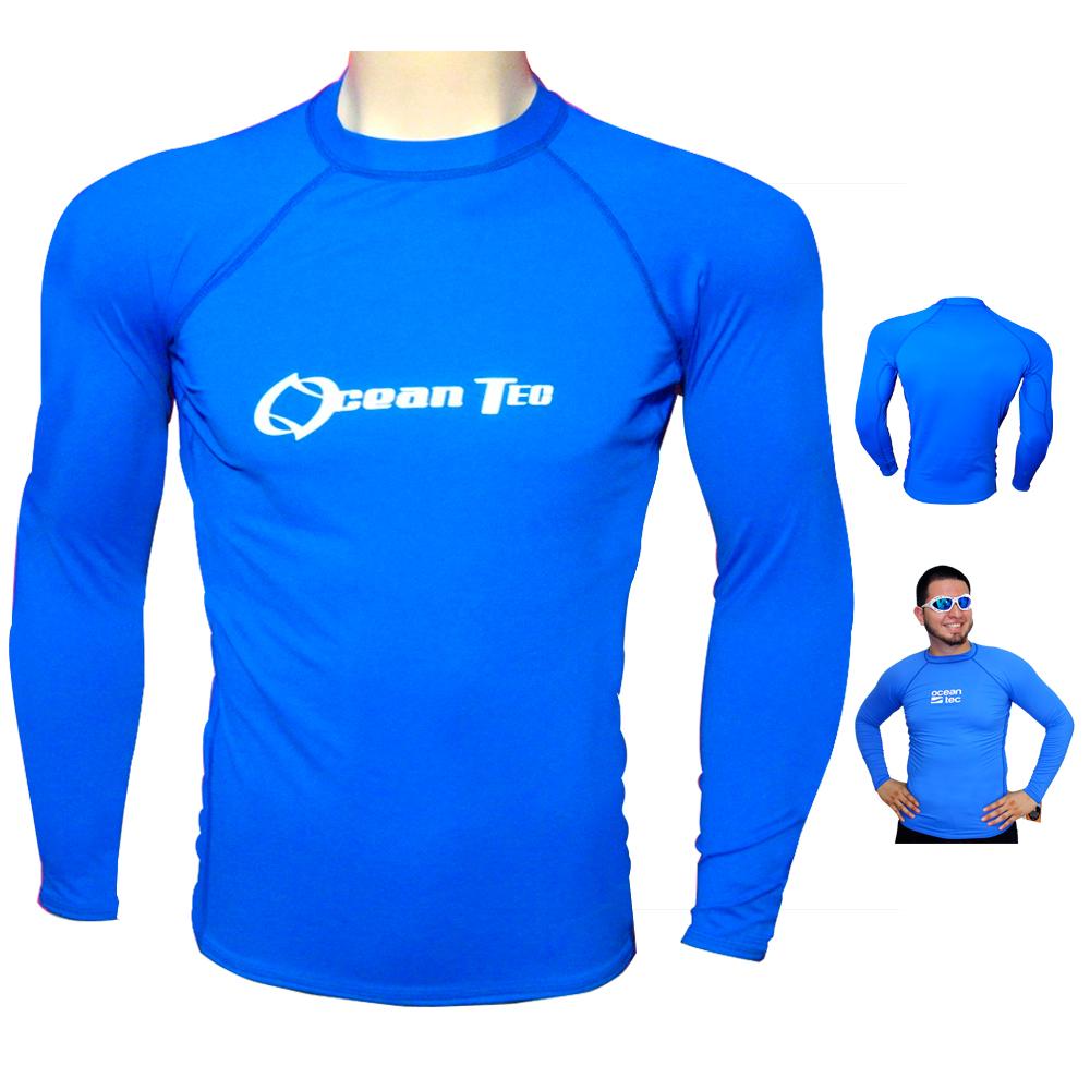 Mens Long Sleeve Rash Guard Surf Shirt Water Sport