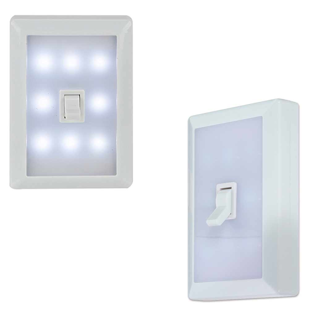 Led Wall Lights With Switch: 8 LED Peel Stick Switch Cover Wall Night Light White Tool