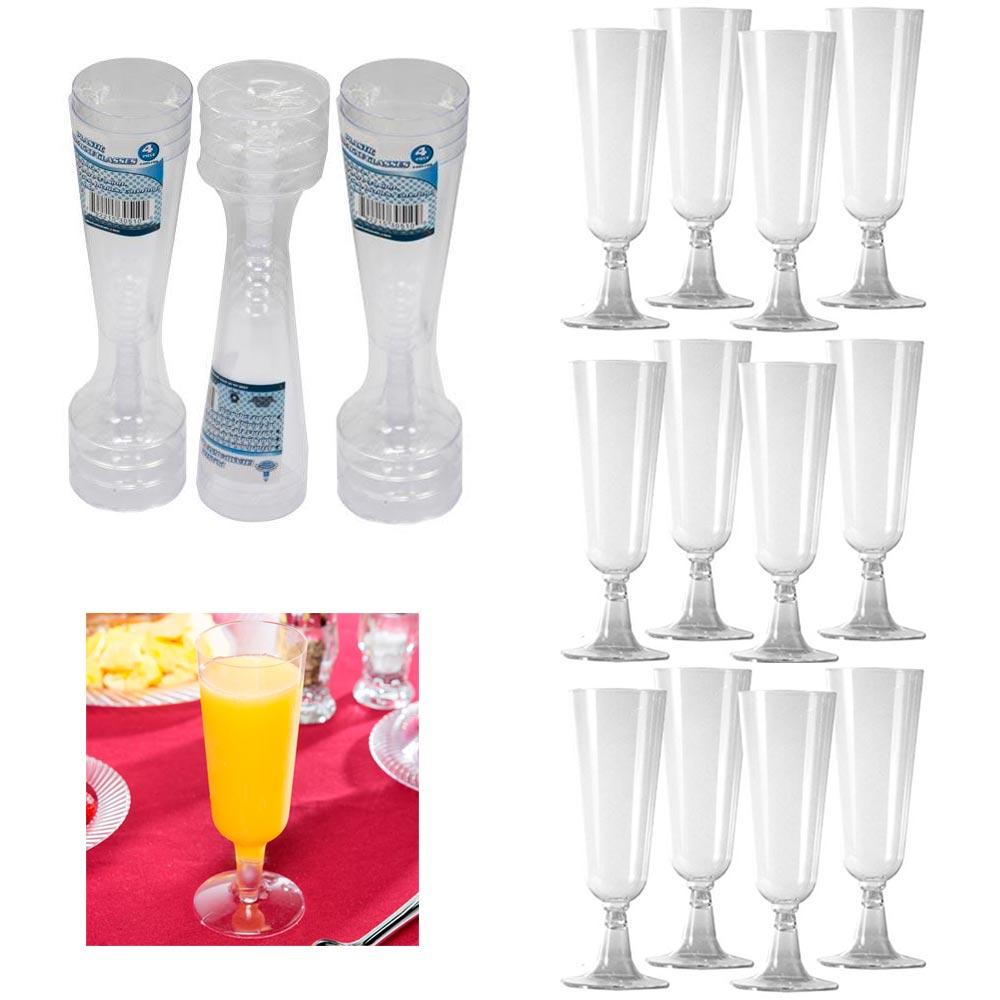 12 Disposable Plastic Champagne Flutes Wine Glasses Clear