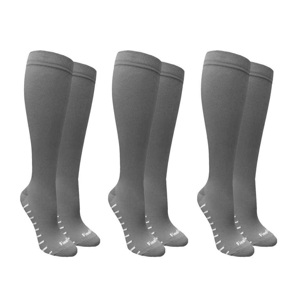3 Pairs Compression Socks Foot Pain Relief Support Men Women Black Gray S-XL