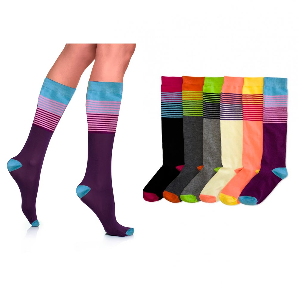 6 Pair Womens Girls Knee High Socks Lot Multi Pattern School Soccer Stripes 9-11