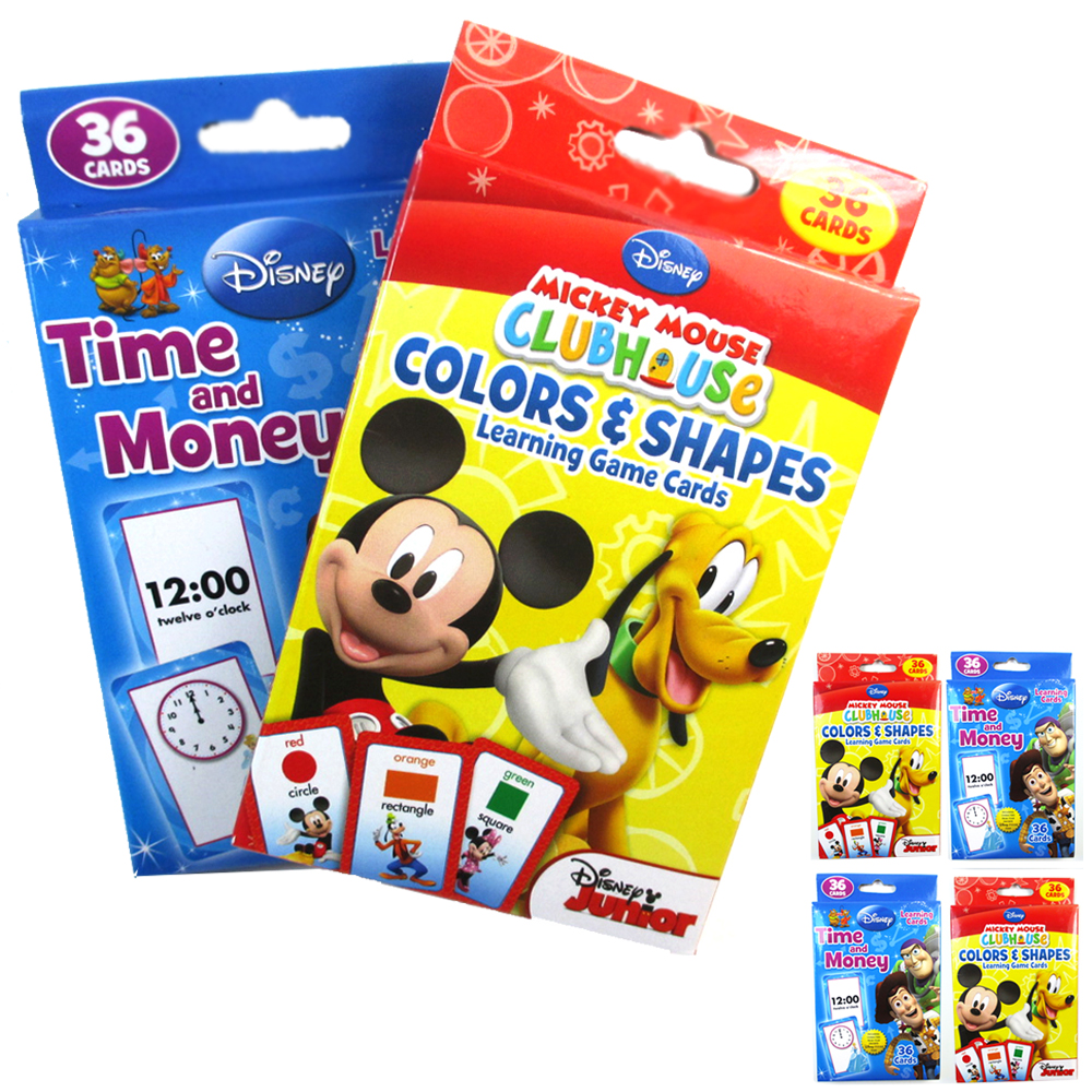 144 Flash Cards Early Learning Color Shapes Money Time Mickey Mouse ...