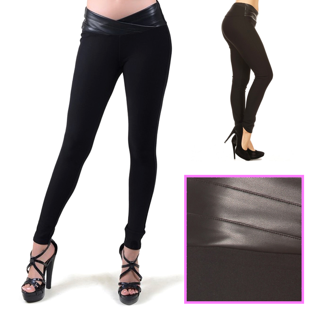 3c87332ab108d Details about Sexy Womens Faux Leather Waist Pants Leggings Stretchy Black Pencil  Trousers SML