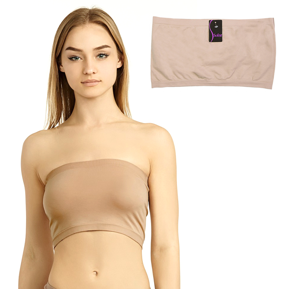f28934a11 Seamless Spandex Bandeau Bra Cropped Tube Top Strapless Layering Tank Yoga  Beige. Click on the below images to view enlarge. AllTopBargain