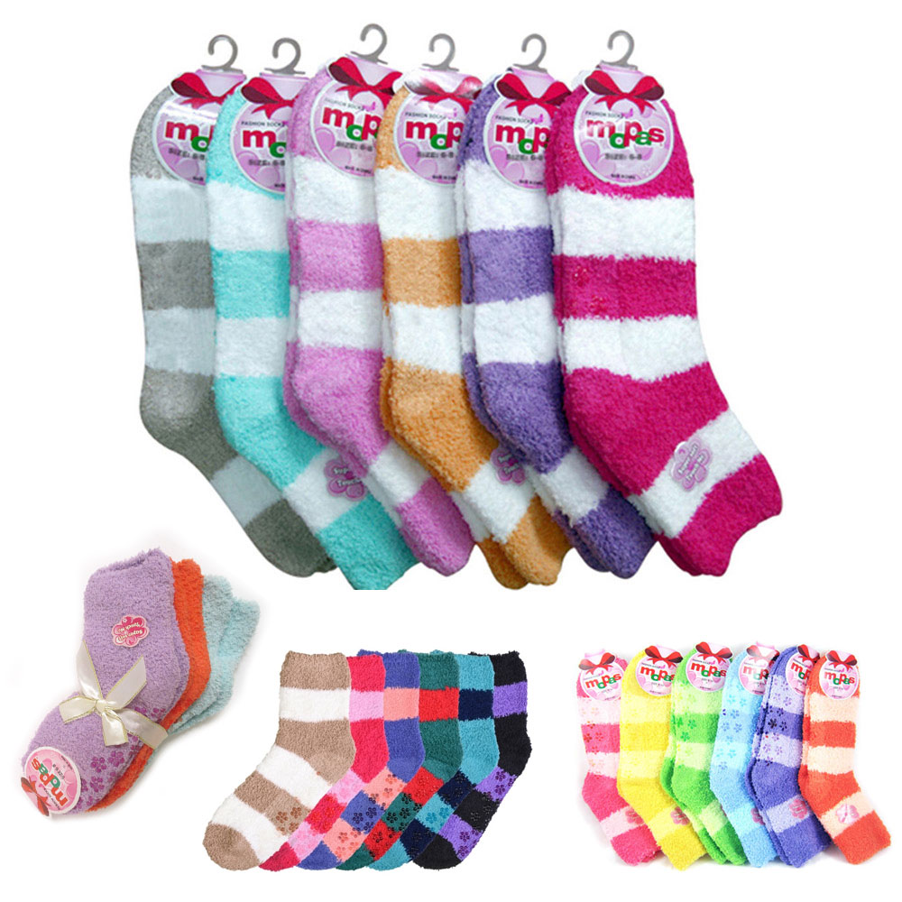 9678eb8d2fc ... Soft Socks Ladies Girls Non Skid Strip 9-11 Winter Warm Fuzzy. Click on  the below images to view enlarge. AllTopBargain