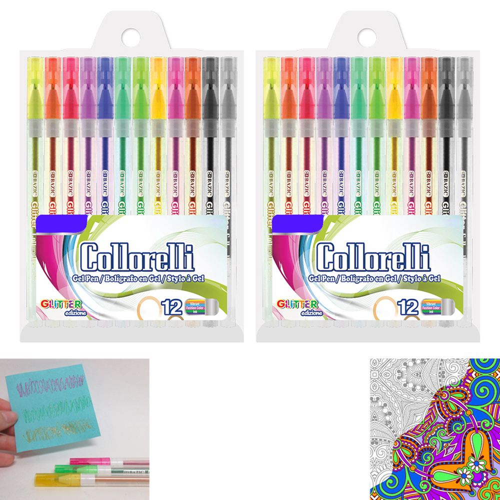 24 PK Glitter Colored Gel Pens Art Set School Sketch Drawing Adult ...