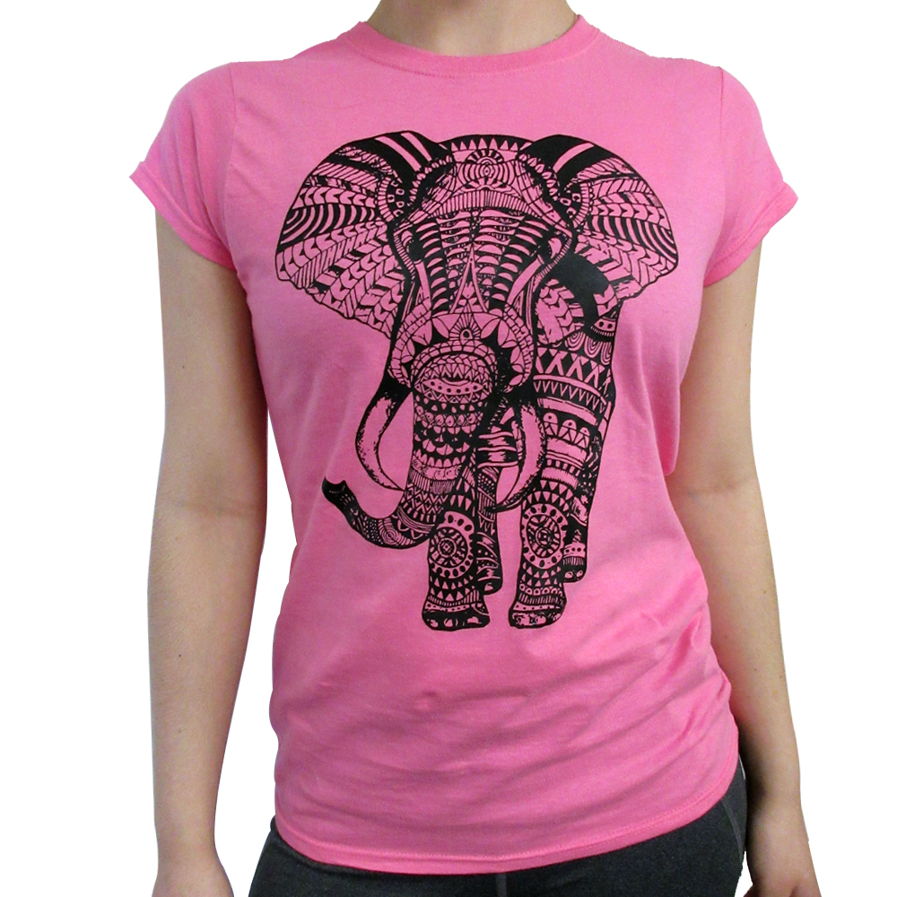 bad856b5e Women Elephant T-Shirt Short Sleeve Graphic Tee Mandala Casual Tank ...
