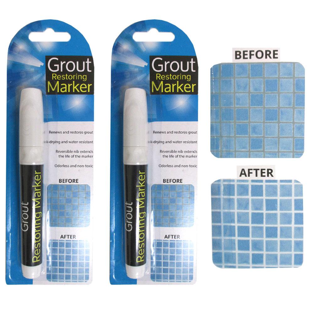2 Grout Restoring Marker White Repair Tile Floor Wall Pen