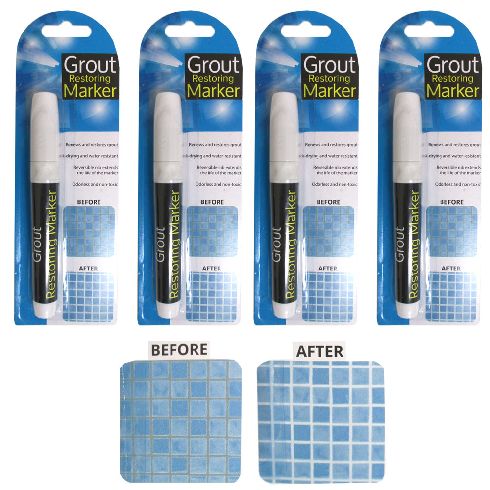 Ceramic Tiles Non-Toxic Permanent Grout-Aide & Tile Marker Water-Resistant Odorless Ceramic Tile Repair Pen with Reversible Nib