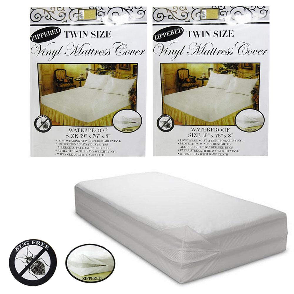 2 Pc Twin Vinyl Zippered Mattress Cover Waterproof Bed-Bug ...
