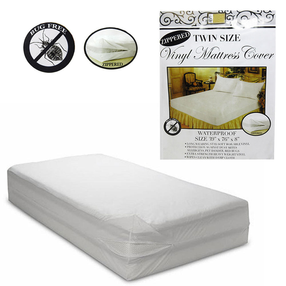 6 Pc Twin Vinyl Zippered Mattress Cover Waterproof Bed Bug