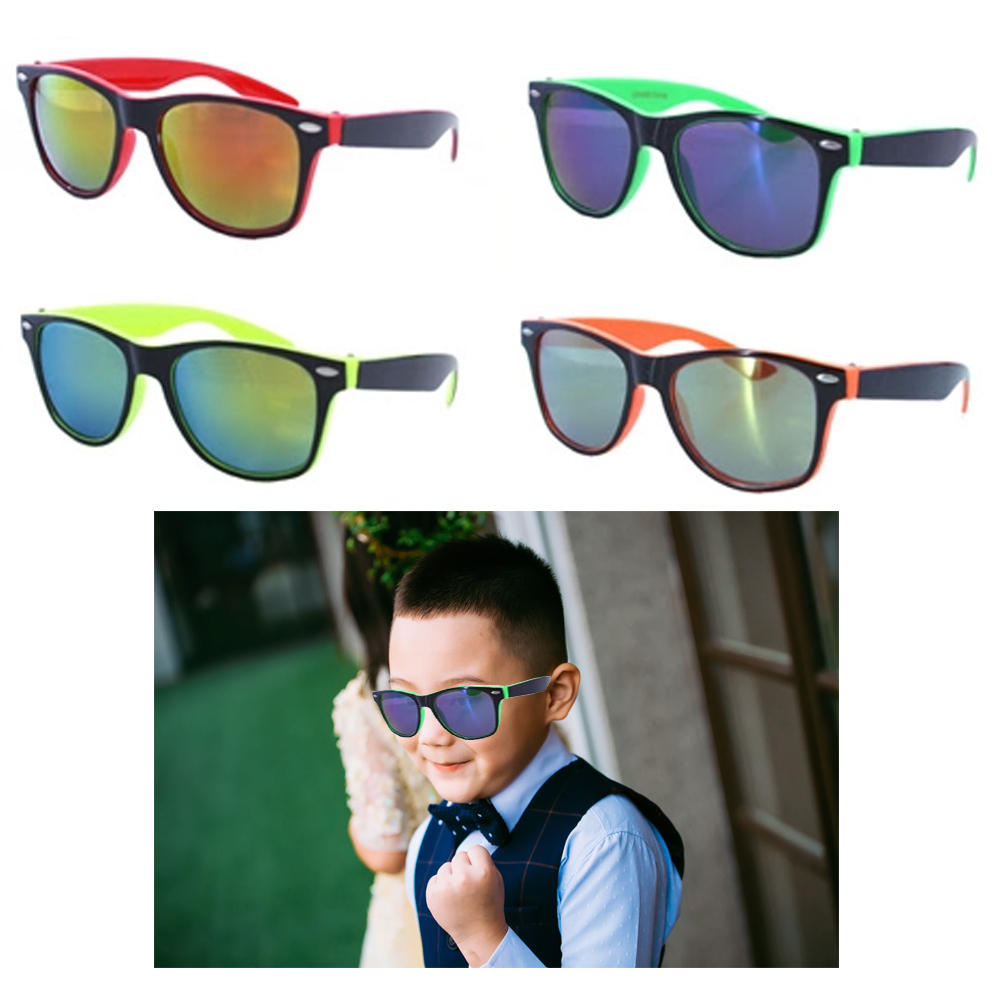 2 Kids Sunglasses Neon Reflective Baby Toddler Boys Girls Square Frame  Glasses 7795735205709 | eBay