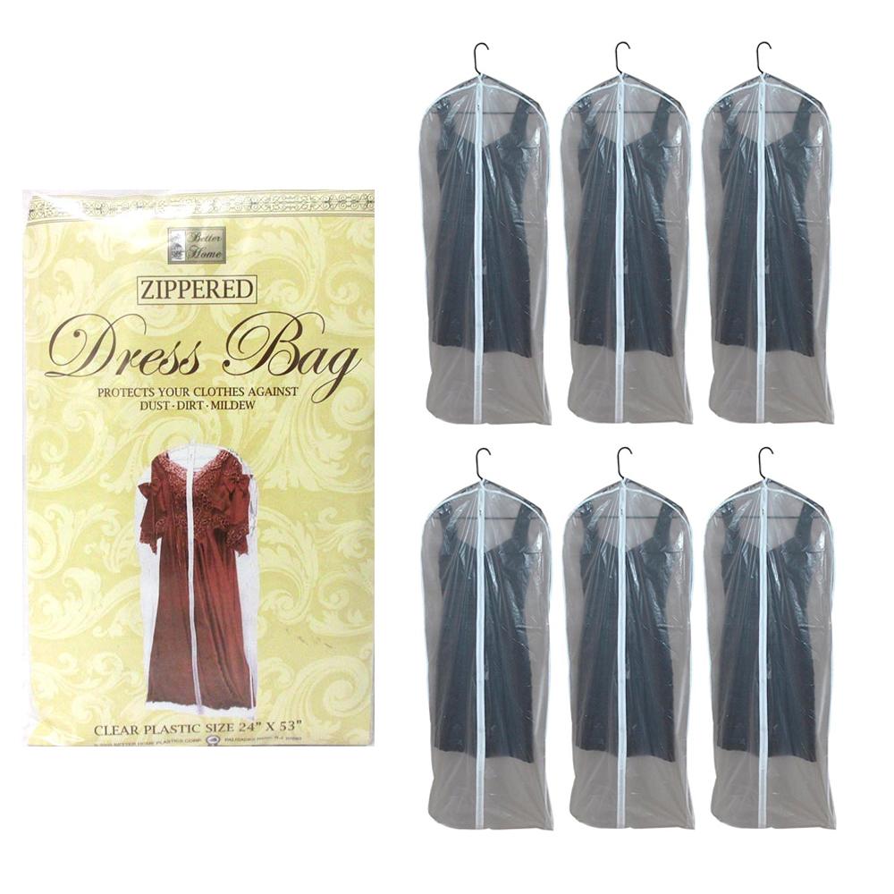 "6 PK Suit Garment Bags Dress Storage Translucent Cover 53/"" Clothing Coat Carrier"