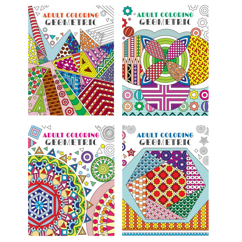 Details about 4 Adult Coloring Book Geometrical Stress Relief Relaxation  Meditation Therapy !