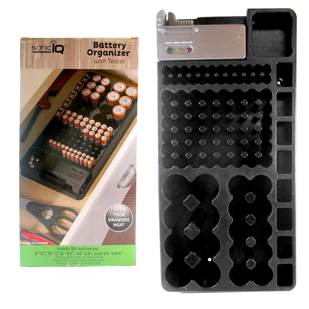 2Pk 82 Battery Storage Organizer Removable Tester Storage Rack Holder AA AAA 9V