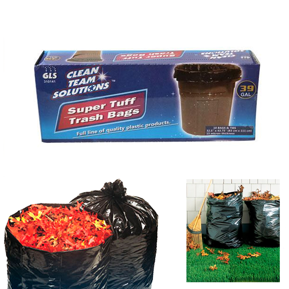 10 Pack Heavy Duty Trash Bags 39 Gallon Lawn Leaf Strong Garbage Liner Bag Black