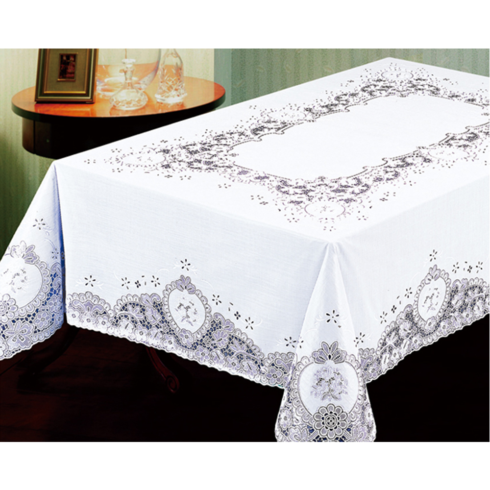 """Lace Tablecloth White Vinyl 54""""X72"""" Cover Wedding Floral"""