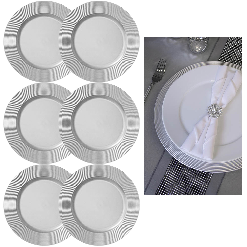 6 X Silver Round 13 Charger Plate Centerpiece Dinner Dining Table Setting Decor Ebay